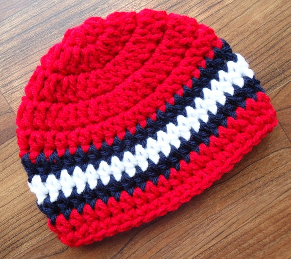 Crocheted Baby Boy Hat ~ Red, Dark Navy Blue & White ~ Fourth of July ~ Baby Shower Gift ~ Photo Prop ~ Newborn to Teen Size ~ MADE TO ORDER