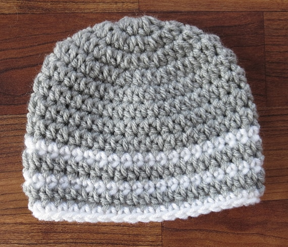 Crocheted Baby Boy Hat ~ Silver Gray & White ~ Baby Shower Gift ~ Hospital Hat ~ Winter Hat ~ Newborn to Teen Size ~ MADE TO ORDER