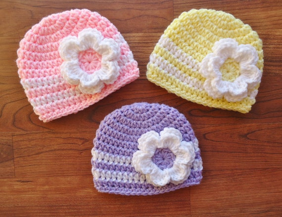 Crocheted Baby Girl Triplet Hat Set with Flowers ~ Lavender, Baby Pink & Light Yellow with White Accents ~ Newborn to 5T ~ MADE TO ORDER