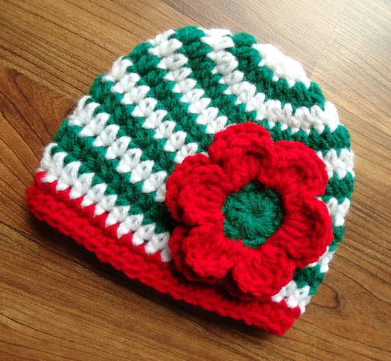 Crocheted Baby Girl Christmas Hat with Flower ~ Kelly Green & White Stripes with Red Flower ~ Newborn to  Teen Size ~ MADE TO ORDER