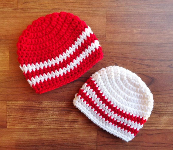 Crocheted Baby Boy/Boy Twin Hat Set ~ Bright Red & White ~ Baby Shower Gift ~ Valentine's Day or Christmas ~ Newborn - 5T ~ MADE TO ORDER