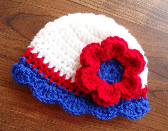 Crocheted Baby Girl Fourth of July Hat ~ Red, White & Royal Blue Hat with Ruffled Edge ~ Baby Gift ~ Newborn to Teen Size ~ MADE TO ORDER