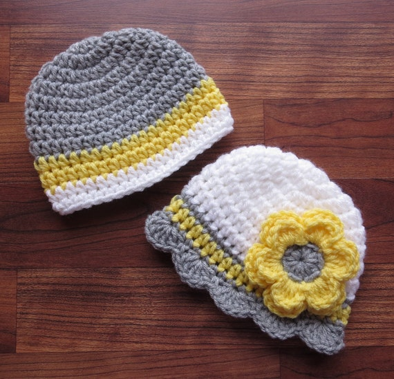 Crocheted Baby Boy/Girl Twin Hat Set ~ Silver Gray, Daffodil Yellow & White ~ Baby Shower Gift ~ Photo Prop ~ Newborn to 5T ~ MADE TO ORDER