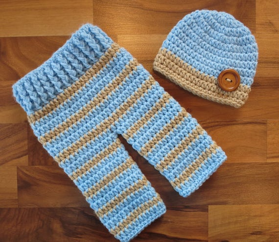 READY TO SHIP ~ Crocheted Baby Boy Pants and Hat with Wooden Button Set ~ Baby Blue & Tan ~ Gift or Photo Prop ~ Newborn (0-2 Month)