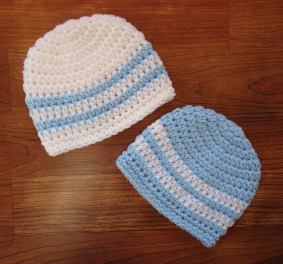 Crocheted Baby Boy/Boy Twin Hat Set ~ Baby Blue & White with Stripes ~ Baby Shower Gift ~ Twin Baby Gift ~ Newborn - 5T ~ MADE TO ORDER