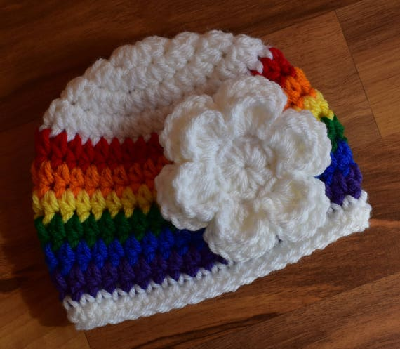 "Crocheted Baby Girl White ""Rainbow Baby"" Hat with White Flower ~ Baby Shower Gift ~ Hospital Hat ~ Newborn to Teen Size ~ MADE TO ORDER"