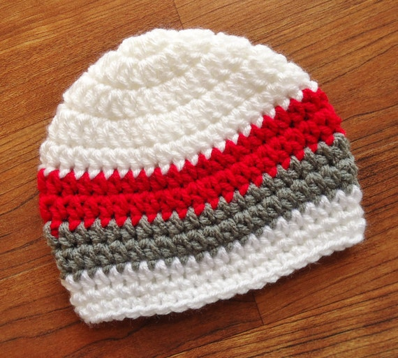 Crocheted Baby Boy Hat ~ White, Red & Pewter Gray ~ Baby Shower Gift ~ Photo Prop ~ Winter Hat ~ Newborn to Teen Size ~ MADE TO ORDER