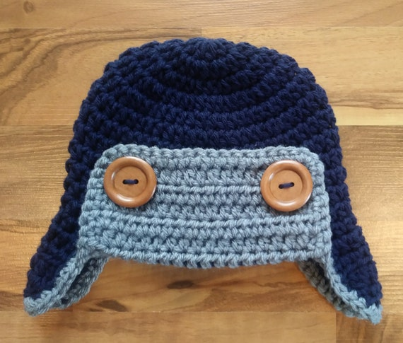 Crocheted Baby Aviator Earflap Hat with Wooden Buttons ~ Dark Navy Blue & Sterling Gray ~ Winter Hat ~ Newborn to Teen Size ~ MADE TO ORDER