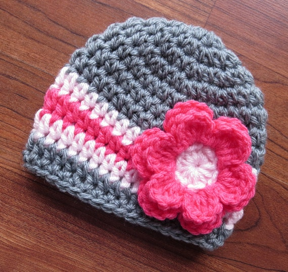 Crocheted Baby Girl Hat with Flower ~ Sterling Gray with Coral Pink & Pale Pink ~ Baby Shower Gift  ~ Newborn to Teen Size ~ MADE TO ORDER