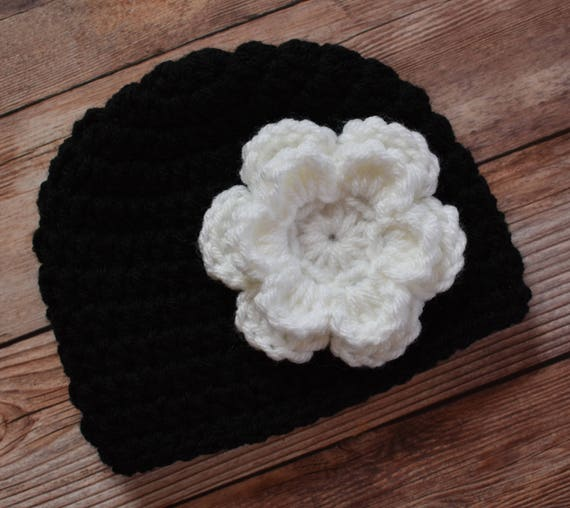 Crocheted Baby Girl Hat with Flower ~ Black & White ~ Baby Shower Gift ~ Winter Hat ~ Photo Prop ~ Newborn to Teen Size ~ MADE TO ORDER