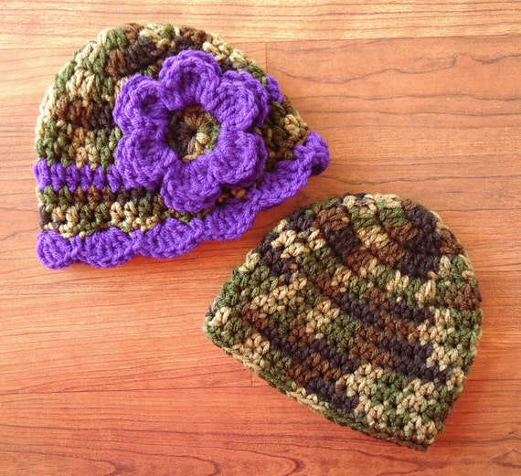 Crocheted Baby Boy/Girl Twin Hat Set ~ Camouflage & Royal Purple ~ Baby Shower Gift ~ Photo Prop ~ Newborn to 5T ~ MADE TO ORDER
