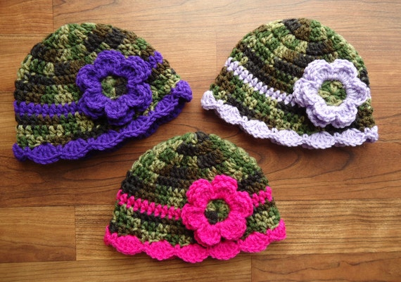 Crocheted Baby Girl Triplet Hat Set ~ Camo with Dark Pink, Light Pink, Orange, Purple, or Lavender ~ Newborn to Teen Size ~ MADE TO ORDER