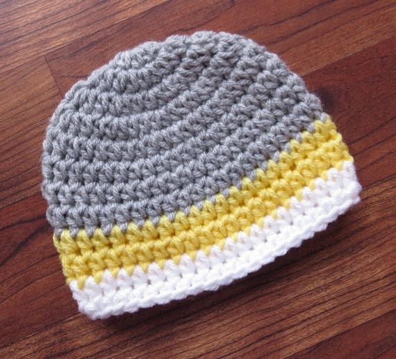 Crocheted Baby Boy Hat ~ Silver Gray, Daffodil Yellow & White ~ Baby Shower Gift ~ Photo Prop ~ Newborn to Teen Size ~ MADE TO ORDER