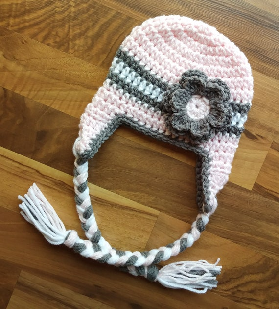 Crocheted Baby Girl Ear Flap Hat with Braided Ties and Flower ~ Pale Pink, Pewter Gray & White ~ Newborn to Teen Size ~ MADE to ORDER