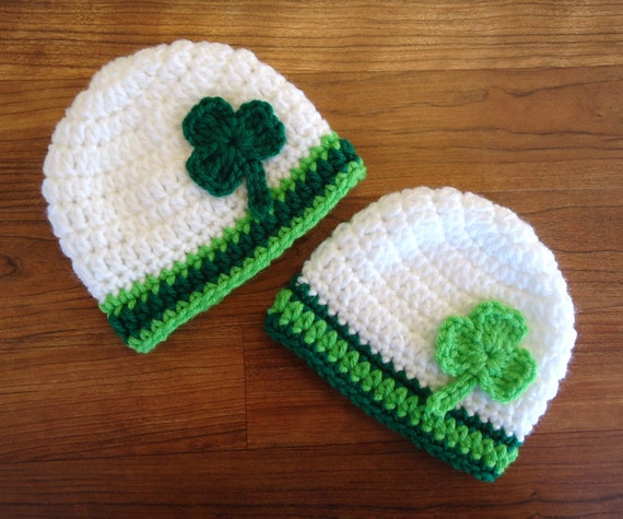 Crocheted Twin Baby St. Patrick's Day Hat Set ~ White with Kelly Green & Lime Green with Shamrocks ~ Newborn to 5T ~ MADE TO ORDER