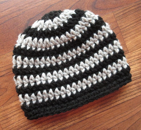 Crocheted Baby Boy Hat ~ Black & Silver Gray Stripes ~ Baby Shower Gift ~ Photo Prop ~ Newborn to Teen Size ~ MADE TO ORDER