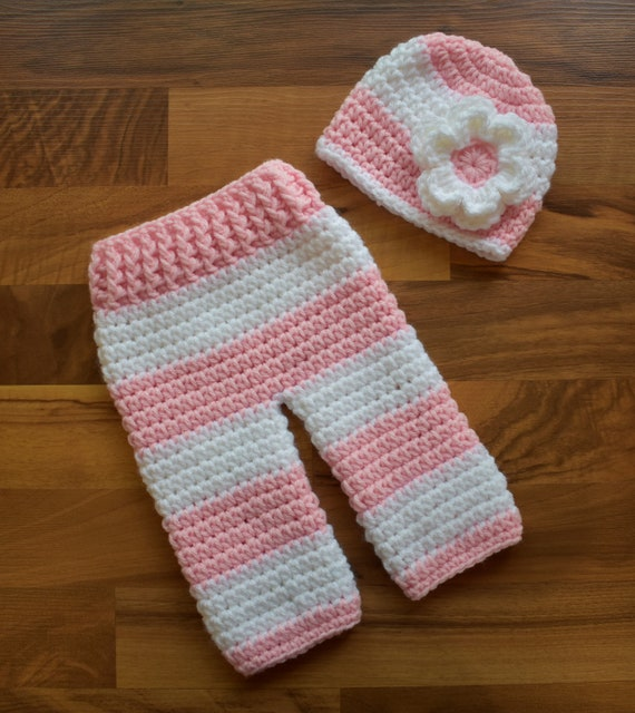 Crocheted Baby Girl Hat and Pants Set ~ Baby Pink & White Wide Stripes ~ Baby Shower Gift ~ Photo Prop ~ Newborn (0-2 Month) ~ MADE TO ORDER