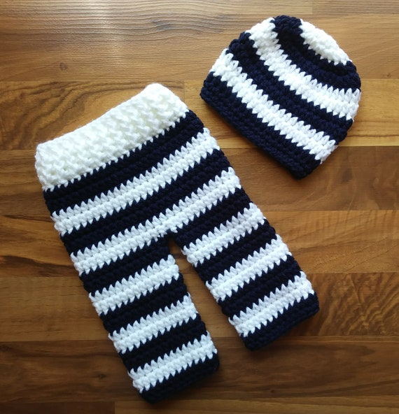 Crocheted Baby Boy Hat and Pants Set ~ Dark Navy Blue & White Wide Stripes ~ Shower Gift ~ Newborn Size (0 - 2 Month) ~ MADE TO ORDER