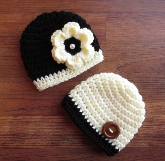 Crocheted Baby Boy/Girl Twin Hat Set ~ Black & Cream with a Wooden Button ~ Baby Shower Gift ~ Photo Prop ~ Newborn to 5T ~ MADE TO ORDER