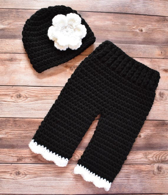 Crocheted Baby Girl Hat and Pants Set ~ Black & White ~ Baby Shower Gift ~ Photo Prop ~ Newborn (0-2 Month) ~ MADE TO ORDER