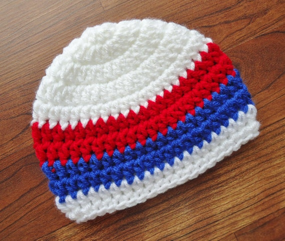 Crocheted Baby Boy Fourth of July Hat ~ Bright Red, White & Royal Blue ~ Baby Shower Gift ~ Newborn to Teen Size ~ MADE TO ORDER