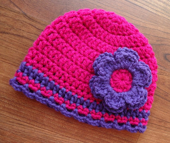 Crocheted Baby Girl Hat with Flower ~ Dark Pink & Violet Purple with a Ruffled Edge ~ Winter Hat ~ Newborn to Teen Size ~ MADE TO ORDER