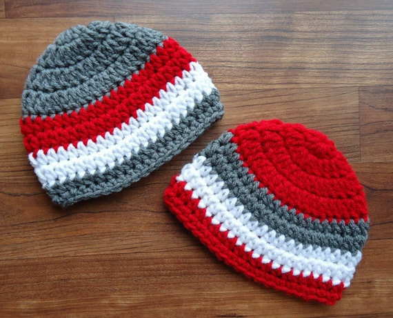 Crocheted Baby Boy/Boy Twin Hat Set ~ Pewter Gray, Bright Red, & White ~ Baby Shower Gift ~ Winter Hats ~ Newborn to 5T ~ MADE TO ORDER
