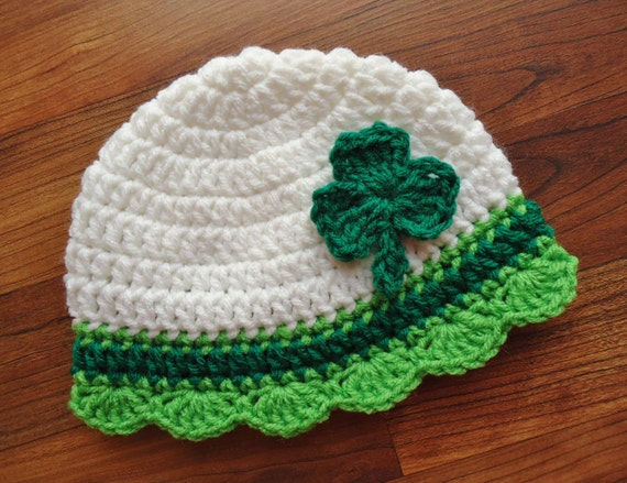 Crocheted Baby Girl Hat ~ St. Patrick's Day ~ White with Kelly Green & Lime Green ~ Green Shamrock ~ Newborn to Teen Size ~ MADE TO ORDER