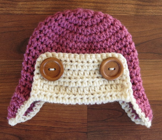 Crocheted Baby Aviator Earflap Hat with Wooden Buttons ~ Rose Pink & Cream/Ecru ~ Winter Hat ~ Newborn to Teen Size ~ MADE TO ORDER