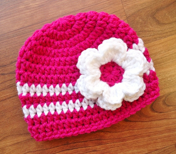Crocheted Baby Girl Hat with Flower ~ Dark Pink & White ~ Baby Shower Gift ~ Newborn Photo Prop ~ Newborn to Teen Size ~ MADE TO ORDER