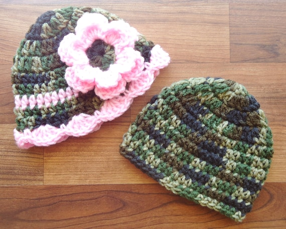 Crocheted Baby Boy/Girl Twin Hat Set ~ Camouflage & Baby Pink ~ Baby Shower Gift ~ Photo Prop ~ Newborn to 5T ~ MADE TO ORDER