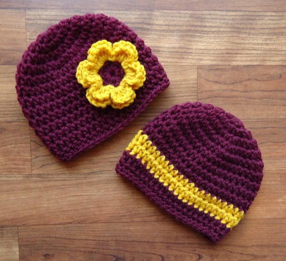 Crocheted Baby Boy/Girl Twin Hat Set ~ Maroon & Gold Baby Hats ~ College Color Baby ~ Baby Shower Gift ~ Newborn to 5T ~ MADE TO ORDER