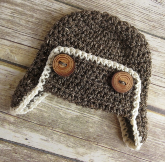 Crocheted Aviator Earflap Hat with Wooden Buttons ~ Barley Brown & Cream ~ Real Tree Branch Buttons ~ Newborn to Teen Size ~ MADE TO ORDER