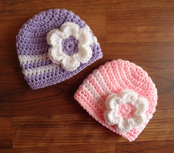 Crocheted Baby Girl/Girl Twin Hat Set ~ Baby Pink, Lavender or Yellow Hats & White Flower ~ Baby Gift ~ Newborn to 5T ~ MADE TO ORDER