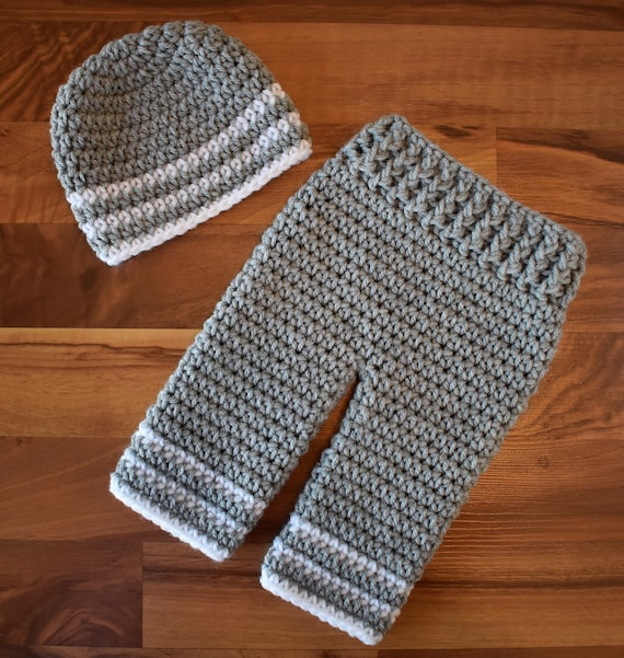 Crocheted Baby Boy Pants and Hat Set ~ Silver Gray & White ~ Baby Shower Gift ~ Photo Prop ~ Newborn (0-2 Month) ~ MADE TO ORDER