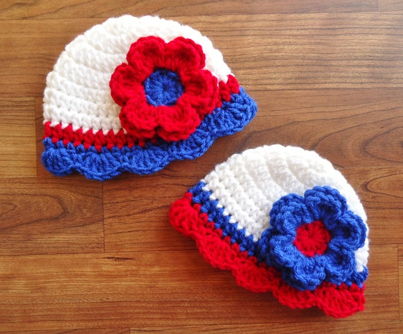 Crocheted Baby Twin Girls Hat Set ~ Twin Girls Fourth of July Hats ~ Bright Red, White & Royal Blue ~ Newborn to 5T ~ MADE TO ORDER