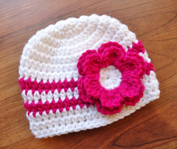 Crocheted Baby Girl Hat with Flower ~ White & Dark Pink ~ Baby Shower Gift ~ Winter Hat ~ Photo Prop ~ Newborn to Teen Size ~ MADE TO ORDER