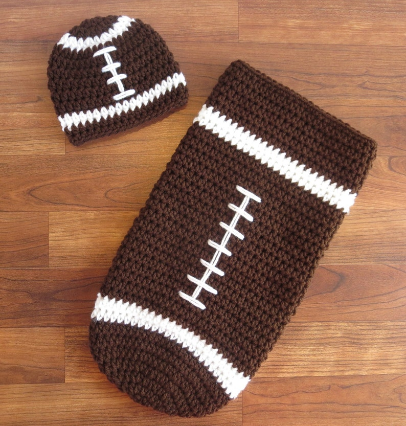 12b844354 Crocheted Baby Boy Football Cocoon & Hat ~ Chocolate Brown and White ~  Newborn Photo Prop ~ Halloween Outfit ~ Newborn Size ~ MADE TO ORDER