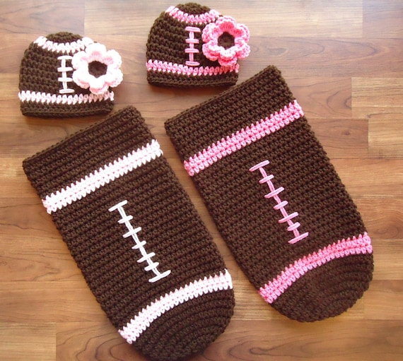 Crocheted Twin Baby Girl Football Hat & Cocoon Sets ~ Hats with Flowers ~ Pink or White Trim ~ Twin Girl Baby Gift ~ Newborn ~ MADE TO ORDER