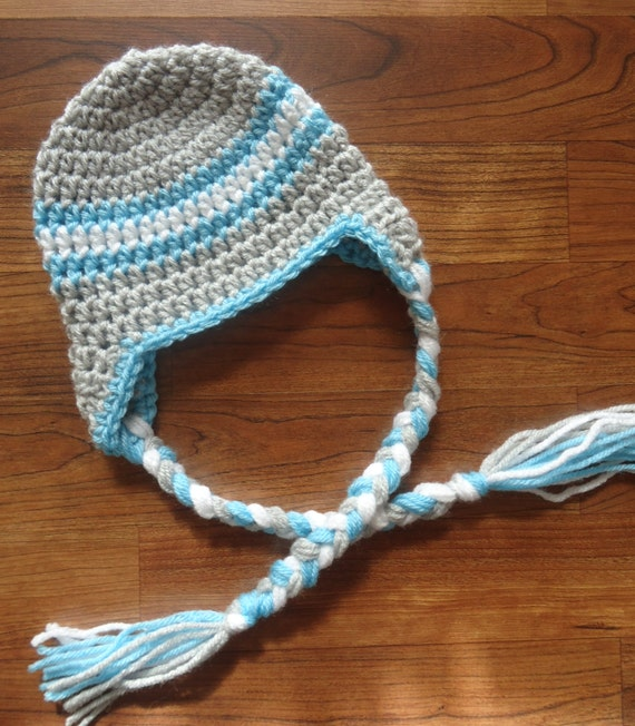 Crocheted Baby Boy Ear Flap Hat with Braided Ties ~ Silver Gray, Aqua & White ~ Winter Hat ~ Newborn to Teen Size ~ MADE TO ORDER