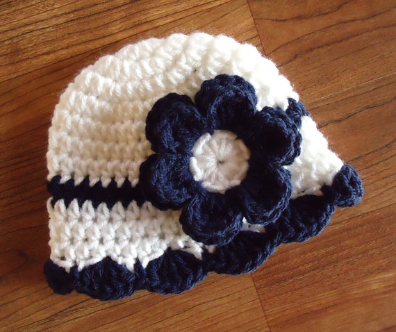 Crocheted Baby Girl Hat ~ White & Dark Navy Blue Baby Hat with Ruffled Edge ~ Baby Shower Gift ~ Newborn to Teen Size ~ MADE TO ORDER