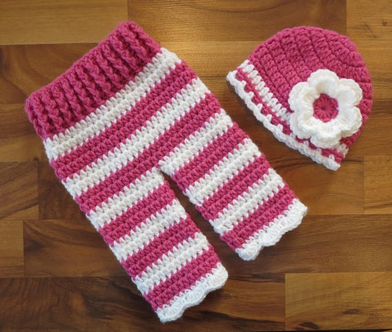 READY TO SHIP ~ Crocheted Baby Girl Hat and Pants Set ~ Deep Pink & White Stripes ~ Baby Shower Gift ~ Photo Prop ~ Newborn (0-2 Month)