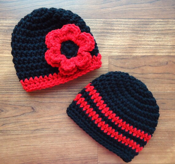 Crocheted Baby Boy/Girl Twin Hat Set ~ Black & Bright Red ~ College Color Baby Hats ~ Baby Shower Gift ~ Newborn to 5T ~ MADE TO ORDER