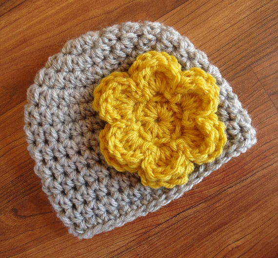 Crocheted Baby Girl Hat ~ Silver Gray Heather with Mustard Yellow Flower ~ Baby Shower Gift ~ Newborn to Teen Size ~ MADE TO ORDER