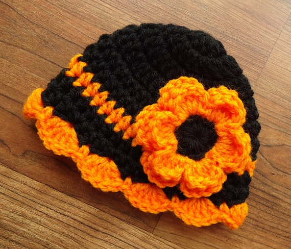 Crocheted Baby Girl Hat with Flower ~ Black & Bright Orange ~ Halloween Hat ~ Newborn Photo Prop ~ Newborn to Teen Size ~ MADE TO ORDER