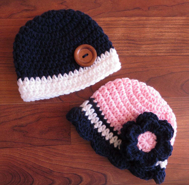 bf8bd62faef Crocheted Baby Boy Girl Twin Hat Set ~ Dark Navy Blue