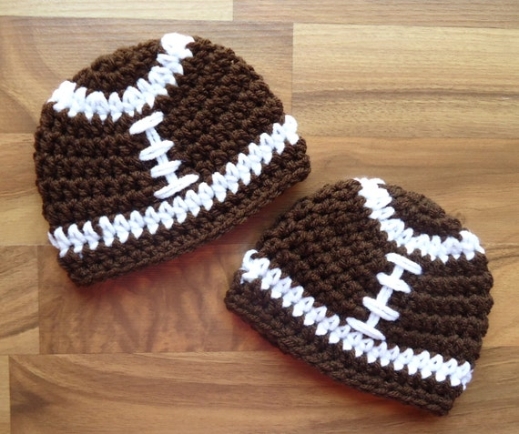 Crocheted Baby Boy/Boy Twin Hat Set ~ Twins Football Hat Set ~ Chocolate Brown with White Laces ~ Photo Prop ~ Newborn to 5T ~ MADE TO ORDER