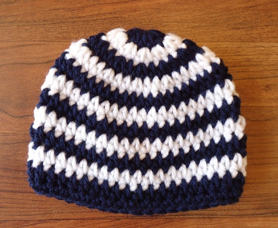 Crocheted Baby Boy Hat ~ Dark Navy Blue & White Stripes ~ Baby Shower Gift ~ Winter Hat ~ Photo Prop ~ Newborn to Teen Size ~ MADE TO ORDER