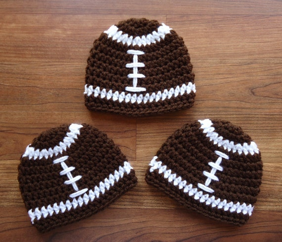 Crocheted Baby Boy Triplet Football Hat Set ~ Chocolate Brown & White ~ Baby Shower Gift ~ Photo Prop ~ Newborn to 5T ~ MADE TO ORDER