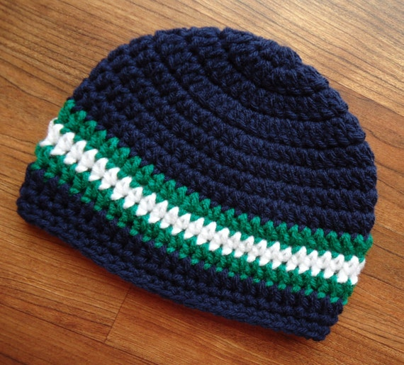Crocheted Baby Boy Hat ~ Dark Navy Blue, Kelly Green & White ~ Baby Shower Gift ~ Photo Prop ~ Newborn to Teen Size ~ MADE TO ORDER